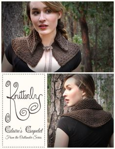 Outlander Pattern for Claires Capelet by KnitterlyYarns on Etsy Capelet Knitting Pattern, Outlander Knitting Patterns, Free Knitting, Loom Knitting, Knit Or Crochet, Crochet Crafts, Knit Patterns, Sewing Patterns, Outlander Costumes