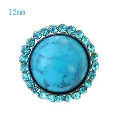 "Chunk Snap Charm Turquoise Stone and Border 12mm Mini Snap, 1/2"" Diameter"