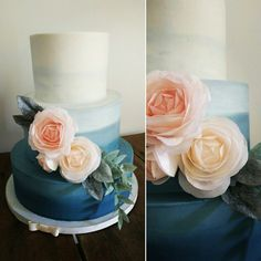 Ombre navy blue wedding cake with blush and peach wafer paper roses. Yellow Cake Co