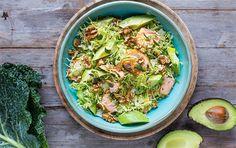 Salat med savojkål, laks og avokado
