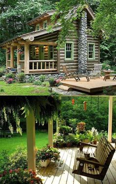 Little cabin in the woods Cozy Cottage, Cottage Homes, Cottage Style, Cozy Cabin, Log Cabin Homes, Log Cabins, Little Cabin, Cabins And Cottages, Cabins In The Woods