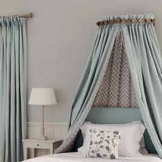We like the colors usage on this bed canopy.  #residential #interior #design #fabric #canopy
