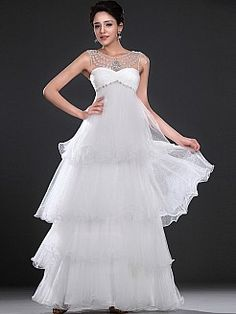 Jeweled Neckline Tiered Organza Empire Bridal Gown with Rhinestone - USD $295.86