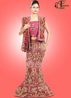 Pink Indian Designer Georgette Bridal Designer Lehenga Choli Online Shopping