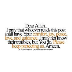 my prayer to Allah for those who share the world with me