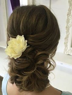 Classic curly low updo wedding hairstyle; Via School Lilac