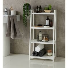 Buy Argos Home 4 Tier Ladder Storage Unit - White at Argos. Thousands of products for same day delivery or fast store collection. White Ladder Shelf, Bathroom Storage Ladder, White Bathroom Shelves, Bathroom Shelving Unit, Ladder Storage, Bathroom Baskets, Ladder Shelves, Bathroom Essentials, Bathroom Furniture