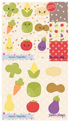 Kawaii Vegetable Clipart and Papers for crafts and products. Healthy eating!