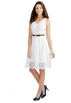Cato Fashions Embroidered Scallop Hem - Plus Jw Fashion, White Fashion, I Love Fashion, Fashion Outfits, Womens Fashion, Plus Dresses, Nice Dresses, Casual Dresses, Affordable Plus Size Clothing
