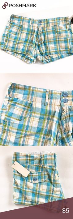 Blue & Green Plaid Shorts These are NWT they say size small, but they run large so would fit a 5-6 Shorts