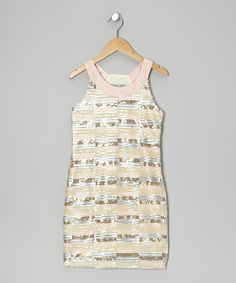 This Pink & Cream Sequin Stripe Yoke Dress by Elisa B. is perfect! #zulilyfinds