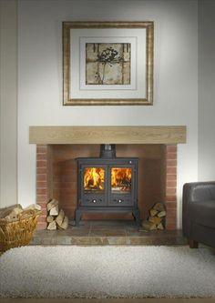 log burner and surround fireplace Wood Burner Fireplace, Inglenook Fireplace, Fireplace Hearth, Rustic Fireplaces, Cottage Fireplace, Home Fireplace, Fireplace Ideas, Simple Fireplace, Art Nouveau