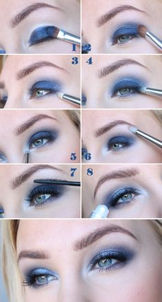 Eye shadow makeup tutorial blue 18 best Ideas Lidschatten Make-up Tutorial blau 18 besten Idee Beautiful Eye Makeup, Natural Eye Makeup, Blue Eye Makeup, Cute Makeup, Glam Makeup, Eyeshadow Makeup, Navy Blue Eyeshadow, Natural Beauty, Make Up Kits