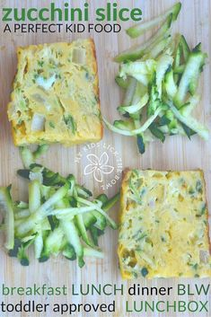 Zucchini or Courgette Slice is the perfect kid food   Serve at Lunch, Dinner or Breakfast   Add to a lunch box   Baby Led Weaning   You Can't Go Wrong  