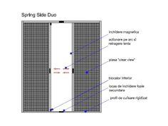 """Plasele anti-insecte Spring Side Duo sunt destinate usilor de balcon sau terase, in doua canate. Principiul de functionare se bazeza pe doua rulouri amplasate pe lateralele verticale ale golului ce urmeaza a fi protejat. In aceste rulouri se afla pretensionate pe arc plasele propriu-zise, plane, ce ofera un aspect """"clear view""""."""