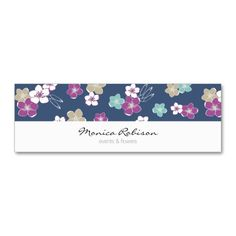 Blue violet exotic flowers feminine elegant mini visit card for a flower shop owner or a gardener | tarjeta de visita mini | #floral #patterned #hawaiian #businesscard #customizable #personalizable