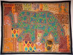 HANDMADE ELEPHANT BOHEMIAN PATCHWORK WALL HANGING EMBROIDERED TAPESTRY INDIA E98…
