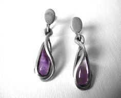 Vintage Antonio Pineda And Los Castillo 970 Silver Dangle Earrings With Amethyst