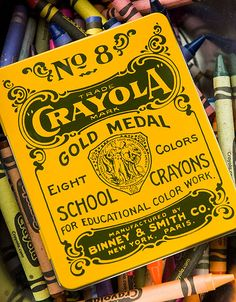 Check out this vintage Crayola tin. #crayolahistory #antique #crayons
