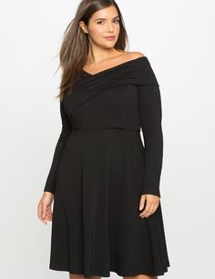Cross Shoulder Fit and Flare Dress from eloquii.com