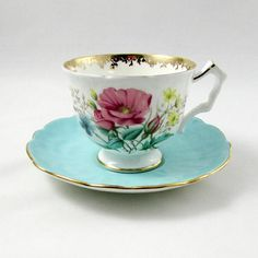 Aynsley Tea Cup and Saucer with Flowers Blue Saucer Vintage