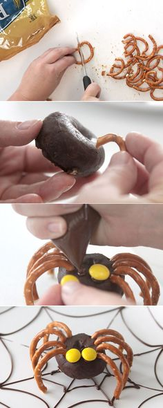 Bake some mini donuts in the Nostalgia mini donut maker and then turn them into creepy crawly pretzel spiders for Halloween. Muffins Halloween, Halloween Torte, Postres Halloween, Halloween Treats For Kids, Halloween Goodies, Halloween Fun, Easy Halloween Desserts, Halloween Makeup, Halloween Decorations