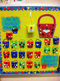 Classroom management system based on the bucket filler books. Manages class as a whole as well as individual students. Students get reward for a full bucket. Next year Classroom Board, Classroom Behavior, Classroom Displays, Kindergarten Classroom, Future Classroom, Classroom Organization, Classroom Decor, Bulletin Boards, Classroom Rules