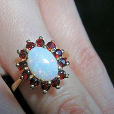 Such play of colour in this opal & garnet ring. Garnet Rings, Tgif, Opal, Colour, Jewels, Stone, Instagram Posts, Color, Rock