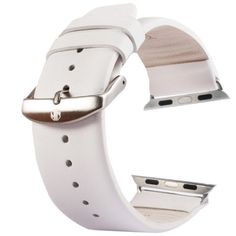 [$9.63] Kakapi Subtle Texture Brushed Buckle Genuine Leather Watchband with Connector for Apple Watch 42mm(White)