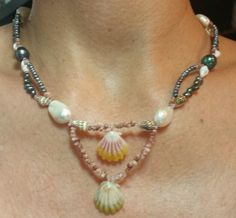 Hawaii double Sunrise moonrise shell,  pearls,  Kahelelani, momi shell necklace