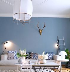 Room Wall Colors, Paint Colors For Living Room, Living Room Decor, Blue Living Room Walls, Blue Feature Wall Living Room, Dining Room, Blue Rooms, Living Room Inspiration, Room Interior