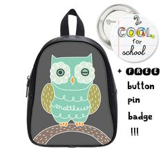 Custom Kid backpack + FREE pin badge - Owl schoolbag - personalized for boys and girls