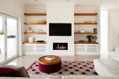 9 Elegant Cool Ideas: How To Decorate Floating Shelves Solid Wood floating shelf fireplace built ins.Floating Shelves Nursery Decor how to make a floating shelf how to build.Floating Shelves For Tv How To Build. Fireplace Shelves, Fireplace Built Ins, Home Fireplace, Living Room With Fireplace, Fireplaces, Stucco Fireplace, Fireplace Ideas, Living Room Built Ins, Living Room Shelves