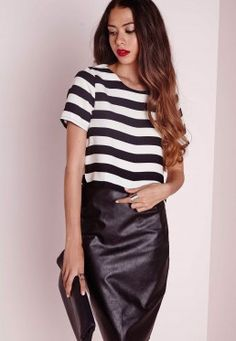 Monochrome Wide Striped Shell Top