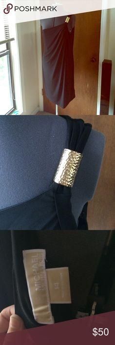 MK Black Grecian Dress Hammered gold cuff, black draped dress. No rips or stains. MICHAEL Michael Kors Dresses Asymmetrical