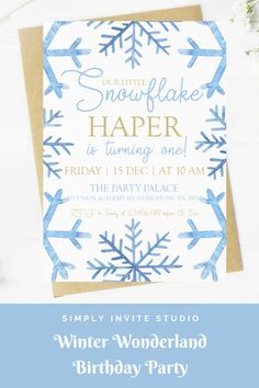 This Winter Wonderland Snowflake Birthday Invite is perfect for a little boys' birthday party. This easy to edit birthday party invitation will be a great addition to your little one's Winter Wonderland Snowflake Birthday Party Theme. Frozen Birthday Invitations, Frozen Birthday Party, Birthday Invitation Templates, Birthday Themes For Boys, Boy Birthday Parties, 3rd Birthday, Winter Wonderland Birthday, Winter Birthday, Retro Party