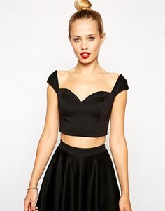 ASOS Crop Top in Premium Fabric with Sweetheart Neckline $20.85