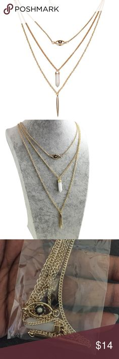 """3 TIER NECKLACE - BRAND NEW 💔NO TRADES💔 Brand new necklace with 3 layers of designs """"Evil Eye Protection"""", """"Crystal"""" and """"Spike"""".  Gold tone necklace can be extended to about 22"""" long.  Really nice accessory to any outfit. MULTIPLE AVAILABLE 🎈 Jewelry Necklaces"""
