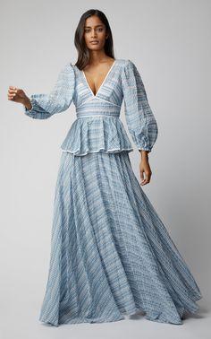 Panera Shirred Peplum Dress by STAUD Now Available on Moda Operandi Dress Indian Style, Indian Fashion Dresses, Indian Designer Outfits, Indian Outfits, Designer Dresses, Fashion Outfits, Peplum Long Dress, Mesh Dress, Long Dresses