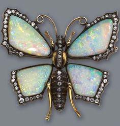 Opal and diamond Art Nouveau brooch.