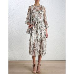 Karmic Slouch Dress (€670) ❤ liked on Polyvore featuring dresses, floral print midi dress, long-sleeve floral dresses, ruched dress, midi dress and slip dress