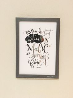 Those who don't believe in magic will never find it | Hand lettered foiled print | Roald Dahl | Children's nursery | frameable print by TeenyLetters on Etsy