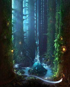 Fantasy landscape. Forest magic lake island. Claro de Wainkrek- Bosque de Ladriggar