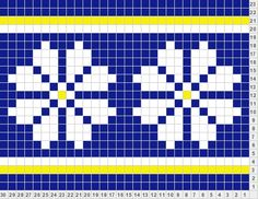 Simple Flower/Snowflake blue-dk grey or purple, white - dk grey or purple, yellow - lt grey Cross Stitch Boards, Mini Cross Stitch, Beaded Cross Stitch, Simple Cross Stitch, Cross Stitch Embroidery, Cross Stitch Patterns, Knitting Paterns, Knitting Charts, Knitting Designs