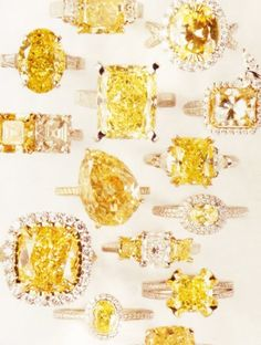 Yellow diamonds... My engagement ring will be Tiffany yellow diamond. I just have to find a guy fist.