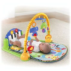Discover 'n Grow™ Kick & Play Piano Gym.  This is Theo's absolutes favorite.  He will look I the mirror and laugh for a while. Meh kicks the piano and tunes play.  He it's started reading for the hanging toys.  Definitely 20-30 minutes of straight play