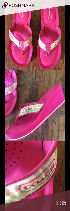COACH JAICEE BEACH PLAID FLIP-FLOPS Lovely shade of pink some wear to the bottom otherwise in great shape. Size says 6B on inside of shoe. These are 45 dollars on other sites. Please no lowball I spend a lot of time finding cleaning and also pay for these items to share with my buyers. thank u for looking. Wedge in back about 2 inches 1 inch in front. Coach Shoes Sandals