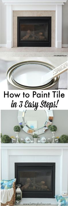 How to Paint Tile in 3 Easy Steps! NO SANDING REQUIRED! Before and After DIY Painted Fireplace Makeover! www.settingforfour.com