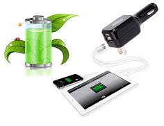 Dual USB Port 2-IN-1 Car Charger(Wall Charger and Car Charger)