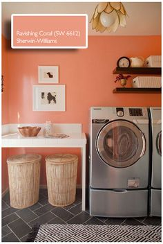 Ravishing Coral- Sherwin Williams. Precisely what color I want for my laundry room!